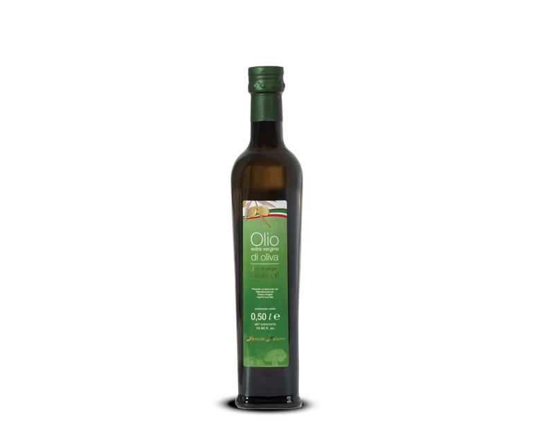 0,5 Liter Flasche extra natives Olivenöl mit milden Geschmack Paiano
