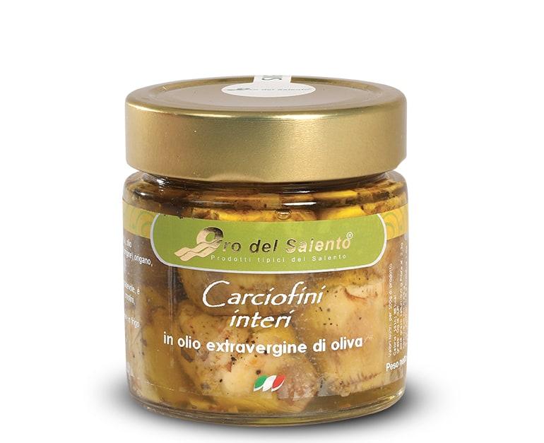 carciofi interi in vasetto in olio extravergine di oliva
