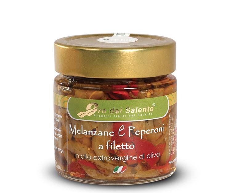 Melanzane e peperoni a filetti in olio extravergine di oliva